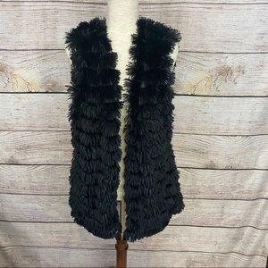 Daytrip Black Faux Fur Vest